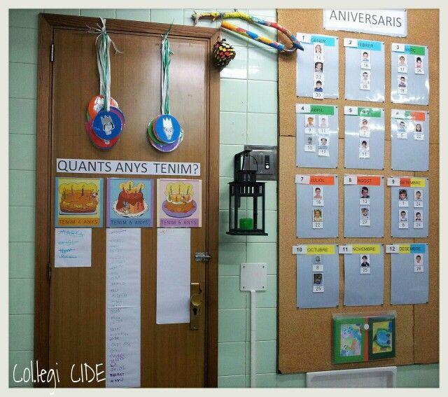 Plafó dels aniversaris: medalles, felicitacions, llistat i distribució dels aniversaris per mesos. 5 anys.