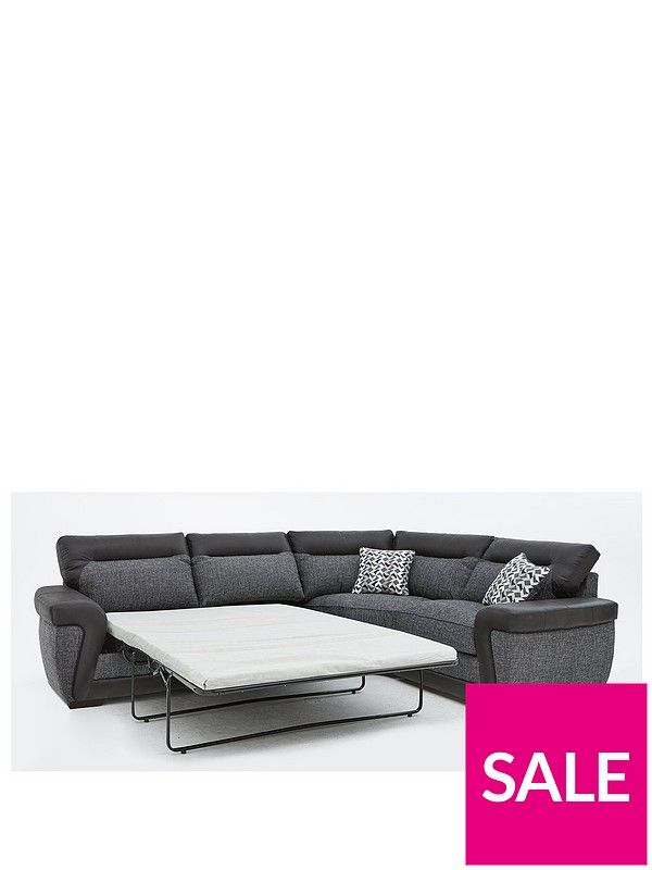 Geo Fabric and Faux Leather Right-Hand Corner Group Sofa Bed | kutne ...