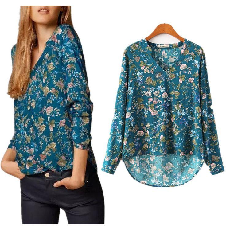 2015 New Fashion Autumn Cotton Vintage Floral Prints Blusas Tops Women Loose V Neck Pullover OL Casual XL Plus Size Blouse Shirt