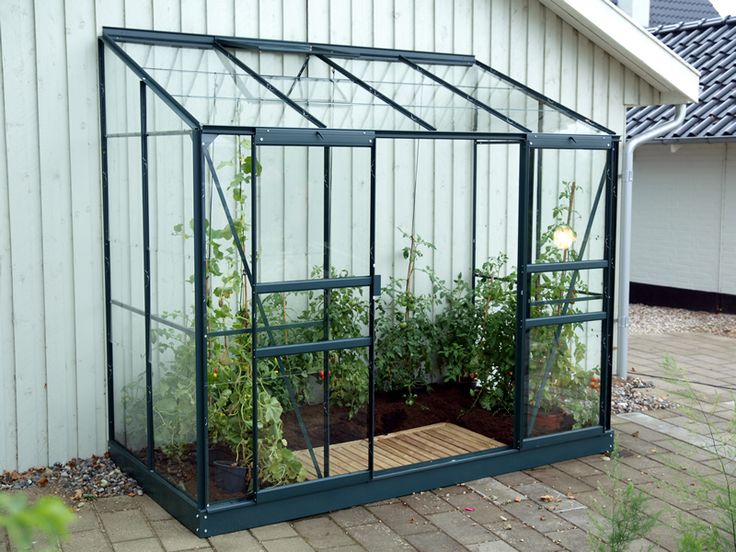 4x8 green vitavia ida lean to greenhouse toughened