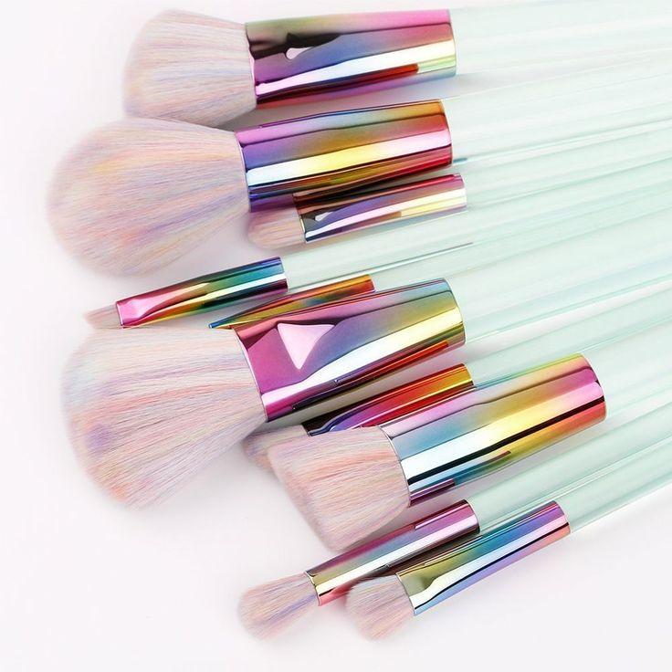 Makeup Brushes 10Pcs Professional Makeup Brush Set Synthetic Kabuki Foundation #Docolor