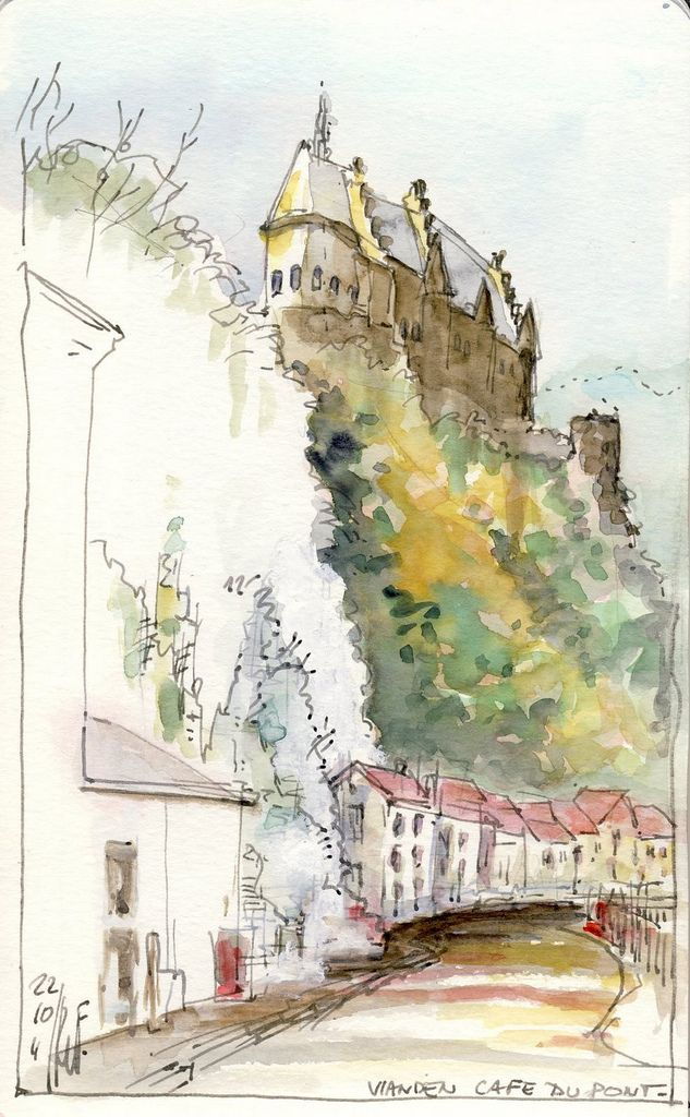Vianden, the castle as seen from Café du Pont, where we had well deserved cup of…