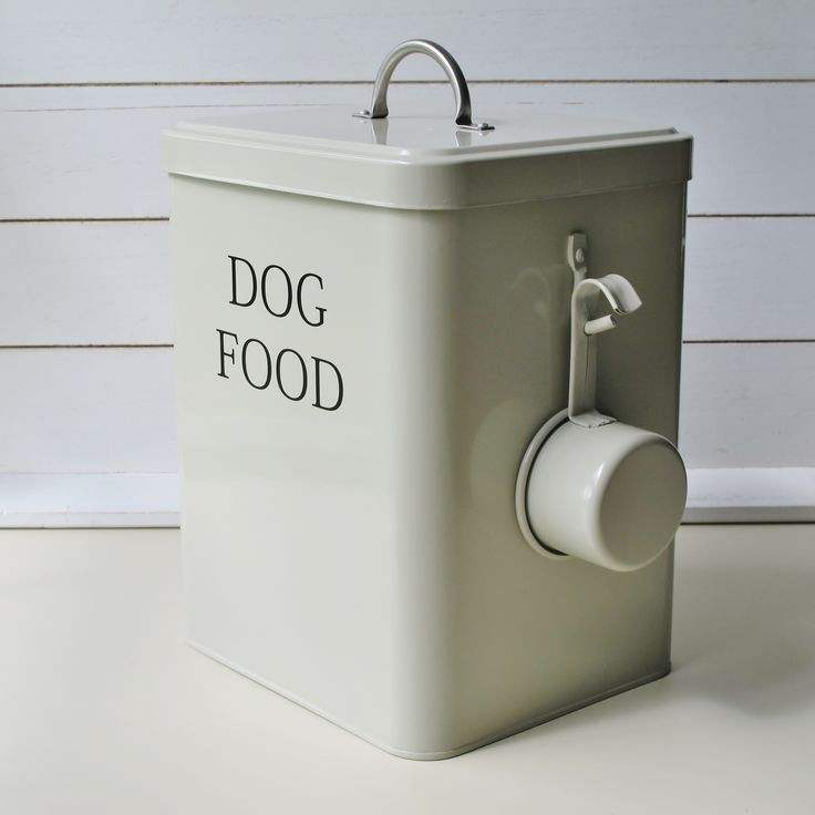 Dog food storage tin container with handy hanging scoop on the side of the tin, clay in colour which is a beautiful green/grey colour from www.blissandbloom.co.uk
