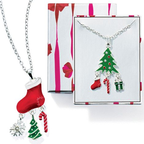 Seasonal Shakey Necklace reg.  $12.99 $9.99 Whimsical silvertone, enamel-look and faux stone pendant with charm accents. Comes gift-boxed. www.Facebook.com/shopavonwithdeon