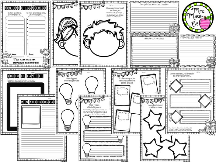 Voici un ensemble de 11 activités amusantes pour la rentrée scolaire, adaptables à tous les cycles. Les feuilles sont disponibles en deux versions: lignées ou avec trottoirs. Ces activités peuvent aussi être utilisées pour le portfolio ainsi que pour la rencontre de parents.