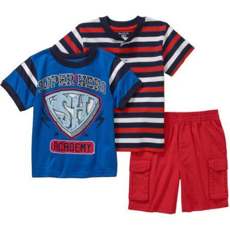 Garanimals Baby Toddler Boy Short Sleeve Graphic Tape Tee, Henley Tee & Cargo Shorts Outfit Set, Size: 3 Years, Red