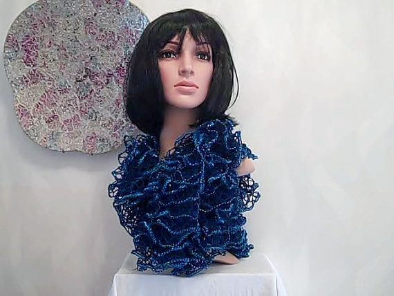 6. Luxury Loopy Glitter scarf navy with sapphire glitter edging adds glamour to jackets jeans and jumpers by handknitteduk. Explore more products on http://handknitteduk.etsy.com
