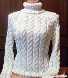 Белый свитер с косами - Вяжем вместе он-лайн - Страна Мам