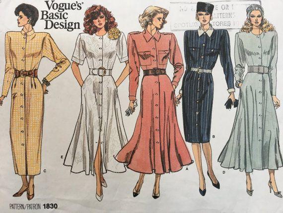 Vogue Vintage  1830 Basic Design Dresses Pattern 8-10-12 Flared dress, front buttoning, shirt dress, loose fitting. 1987 1980s shoulder pads, power dressing,  Etsy weseatree patterns 1980s