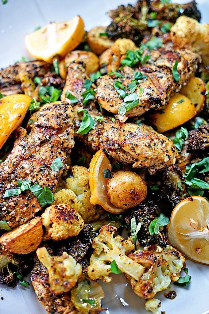 Turkish Grilled Chicken and Roasted Vegetables with Lemon and Basil starts with an amazing spice blend of Turkish flavors and roasted lemon and veggies. Recipe for dinner and spice blend up on the blog today! A FLAVOR EXPLOSION!