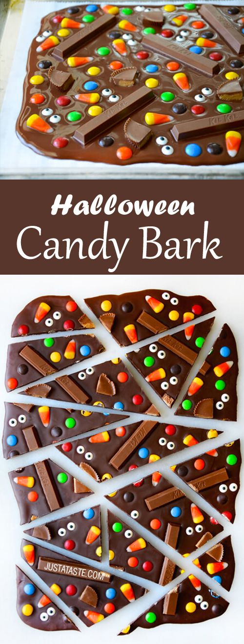 Now you can up your Halloween game with this quick, easy and amazing Halloween candy bark. #halloween #chocolate