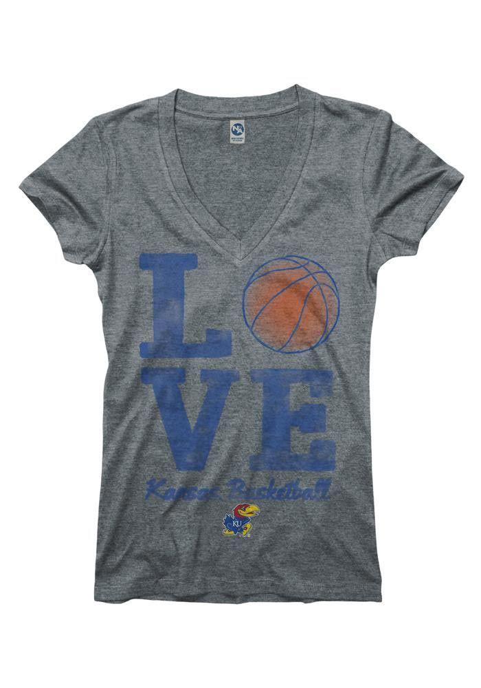 Kansas Jayhawks T-Shirt- Womens Grey Love Kansas Basketball V-Neck T-Shirt    http://www.rallyhouse.com/shop/kansas-jayhawks-new-agenda-kansas-jayhawks-tshirt-womens-grey-love-kansas-basketball-vneck-tshirt-2278790    $19.99