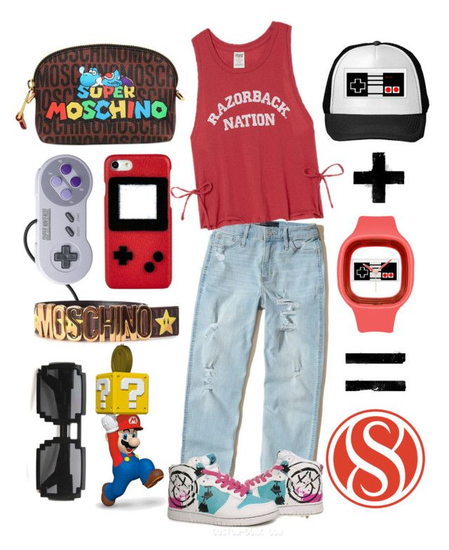 Chill n' Play by gpatricia on Polyvore featuring polyvore Hollister Co. Les Petits Joueurs Nintendo Moschino Hallmark fashion style clothing
