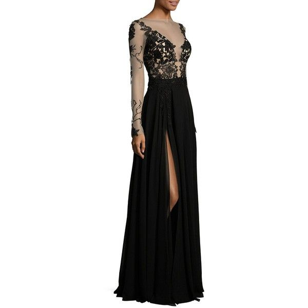 Berta Embroidered Long-Sleeve Gown ($8,630) ❤ liked on Polyvore featuring dresses, gowns, apparel & accessories, black, long ball gowns, long evening gowns, boat neck dress, long sleeve evening gowns and long-sleeve maxi dress