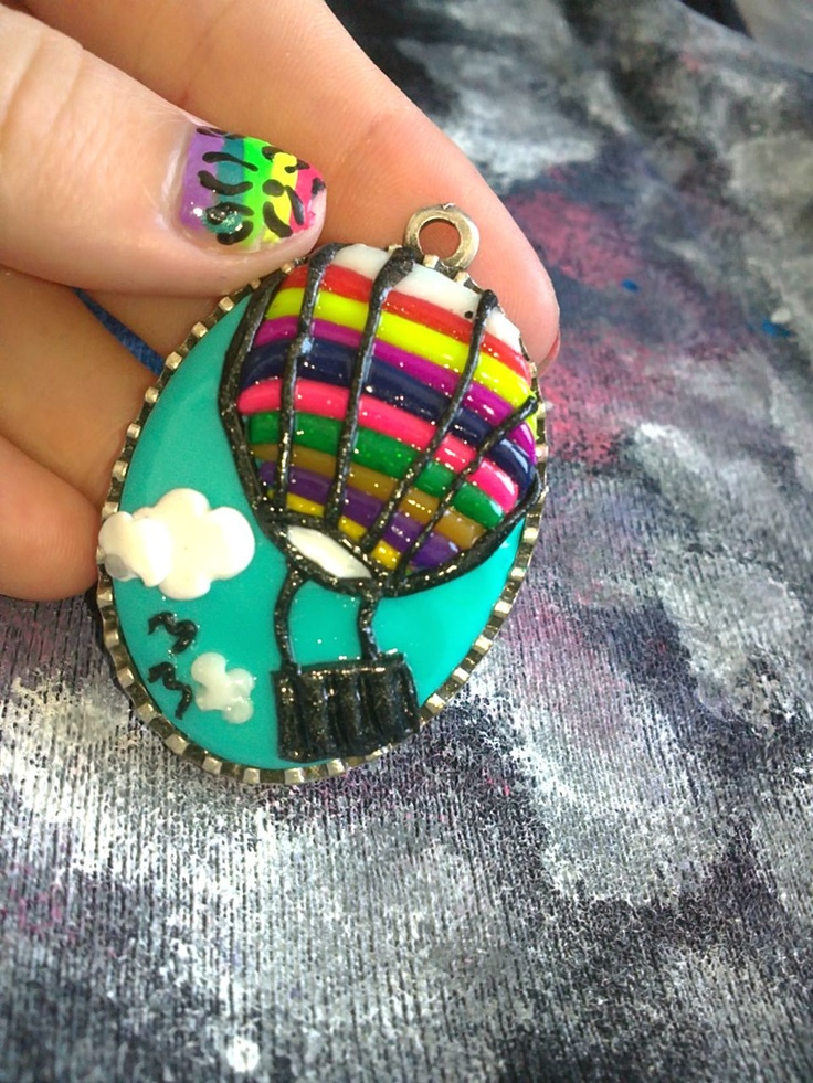 Handmade fimo jewellery   Hot air-balloon cameo