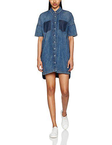 d4ccb330804f Tommy Jeans femme PTCWRK DNM DRESS L S CLSBL 20 Robe Manches Courtes  Portefeuille Bleu