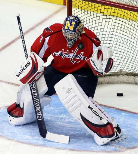 Emergency goalie: The most unique 1‐day job in sports:      FILE ‐ In this Dec. 12, 2008, file photo, Washington Capitals backup goaltender Brett Leonhardt warms‐up before an NHL hockey game against Ottawa Senators, in Washington. Hockey is the only professional sport where someone can go from being a fan to suiting up in the NHL. Injuries and illnesses to goaltenders have...  More...