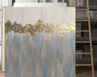 Beige and Gold Leaf Painting Art Print  Poster  by 25HourPrints