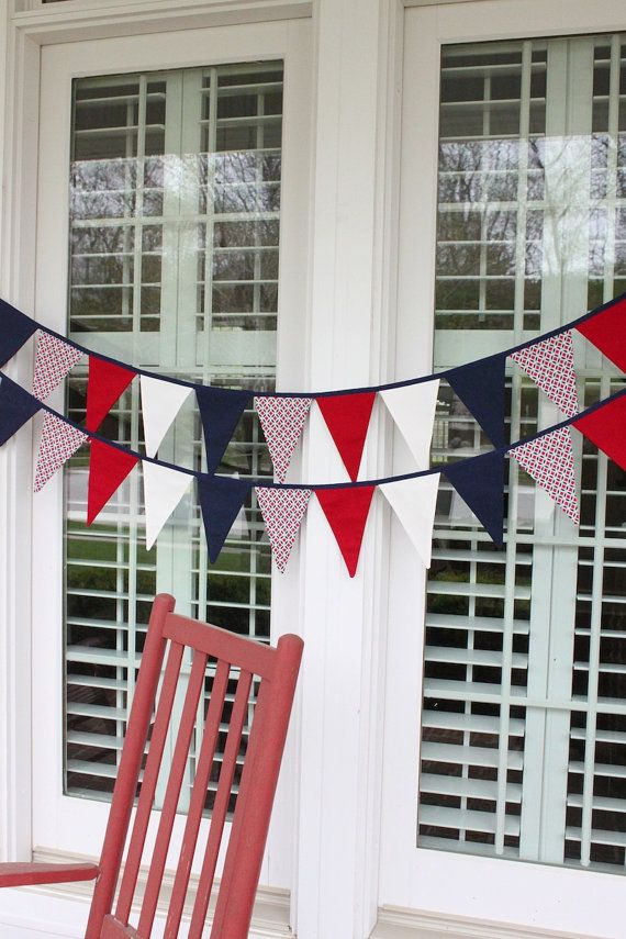 HatchlingsByRachel.com     PATRIOTIC 4th of July red, white, and blue fabric flag garland, American flag pennant bunting - 9 feet