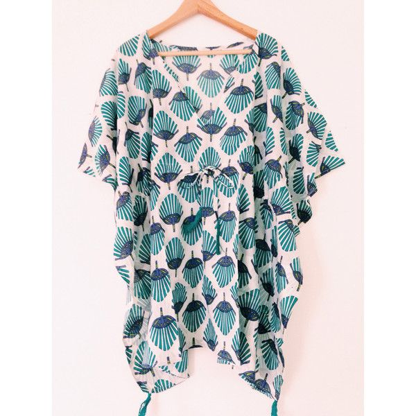 Beach Cover Up African Inspired Hand Block Printed Short Kaftan Resort... ($45) ❤ liked on Polyvore featuring intimates, dresses, teal, women's clothing, beach caftan, short caftan, short kaftan, beach kaftan and cotton caftan