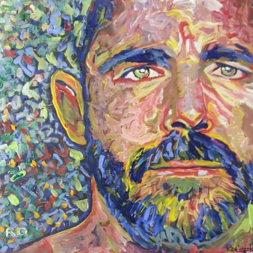 I Am Bear. By RD Riccoboni acrylic on paper. #art #artist #followmeplease #painting #design #bear #beefcake #impressionism #contemporary #beardedartist #beard #beardedman #beardporn #gayboyswithbeards #gaybear #gayscruff #gaystyle #beardedmen...