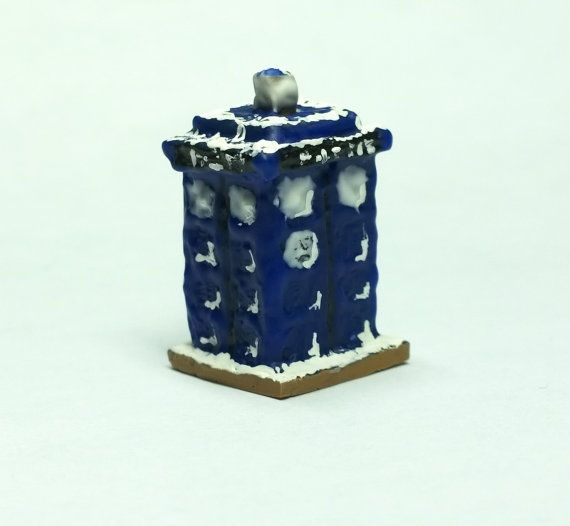 Tardis Gingerbread House 1:12 Scale Dollhouse by SaraMadeCreations