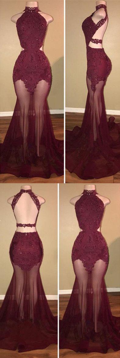 Sheer Skirt Mermaid Prom Dress, Long Evening Dress 2018 H01401