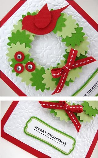 Christmas Wreath2- Linda Aarhus - Polka Dots and Paper - Wreath made with Boho Blossoms Punch