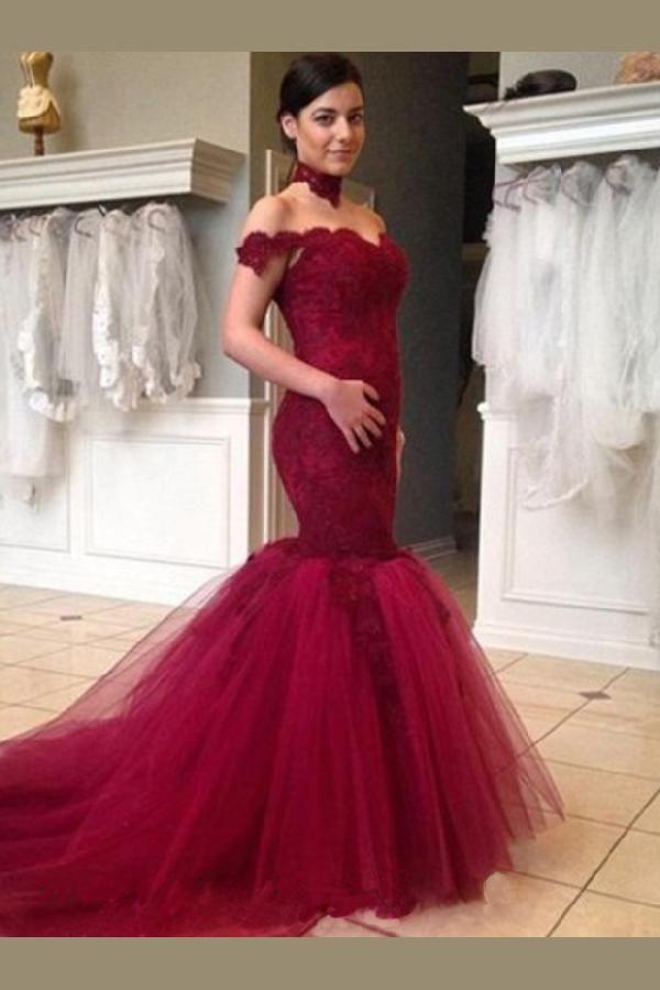 Outlet Delightful High Neck Wedding Dresses Luxurious Bride Gowns Trumpet High Neck Fuchsia Red Wedding Dresses Burgundy Wedding Dress Mermaid Evening Dresses