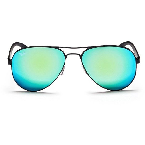 Ray-Ban 'RB3523' metal aviator mirror sunglases ($195) ❤ liked on Polyvore featuring accessories, eyewear, sunglasses, green, mirrored aviator sunglasses, metal sunglasses, mirrored aviators, green aviators and ray ban sunglasses