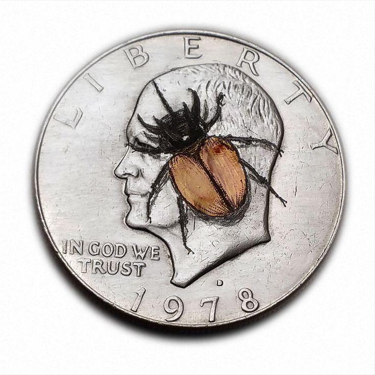 5 Horned Beetle  #S350 Ike Dollar Hobo Nickel Engraved by Luis A Ortiz