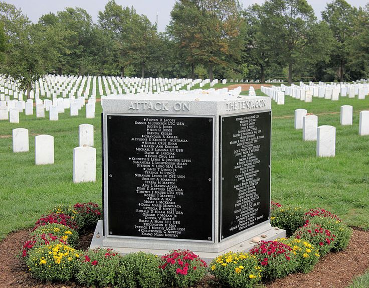 Famous Memorials>Pentagon 9/11 -the victims killed during attack on Pentagon on 9/11/01. Includes those on AA Flight 77 that crashed into the building. The memorial is five-sided just like the Pentagon building. It has the names of the dead inscribed on the monument's sides.
