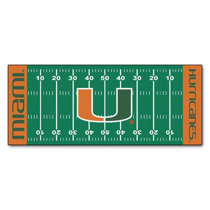 """University of Miami Runner 30x72 - For all those football fans out there: football field-shaped area rugs by FANMATS. Made in U.S.A. 100% nylon carpet and non-skid recycled vinyl backing. Machine washable. Officially licensed. Chromojet printed in true team colors.FANMATS Series: FOOTRUNTeam Series: University of MiamiProduct Dimensions: 30""""x72""""Shipping Dimensions: 36""""x16""""x1.5"""". Gifts > Licensed Gifts > Ncaa > All Colleges > University Of Miami. Weight: 5.00"""