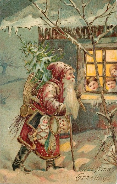 Christmas Greetings ~ Santa walking by children looking out window