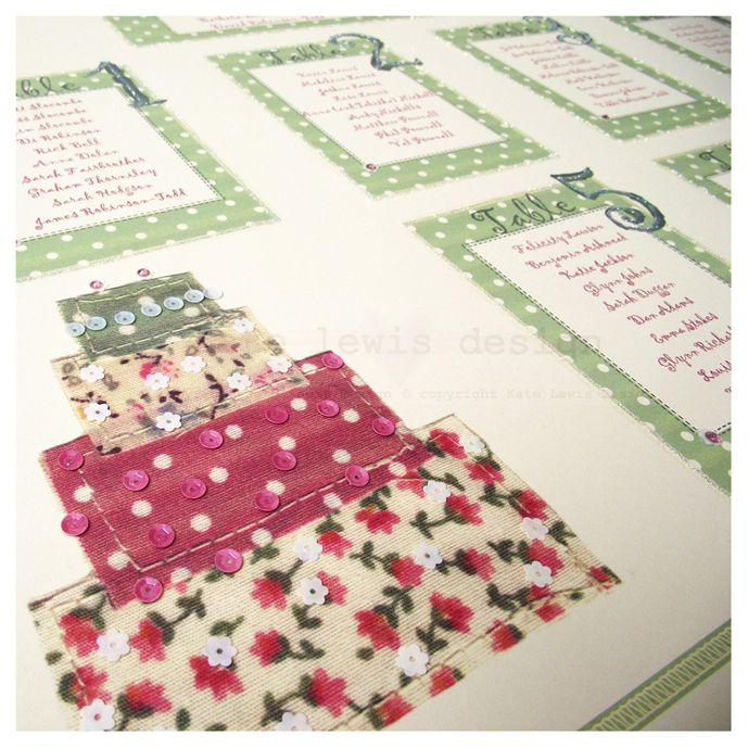 """Beautiful A2 size wedding table plan. """"Hand finished with the sparkliest glitter, sequins and Swarovski crystals."""""""