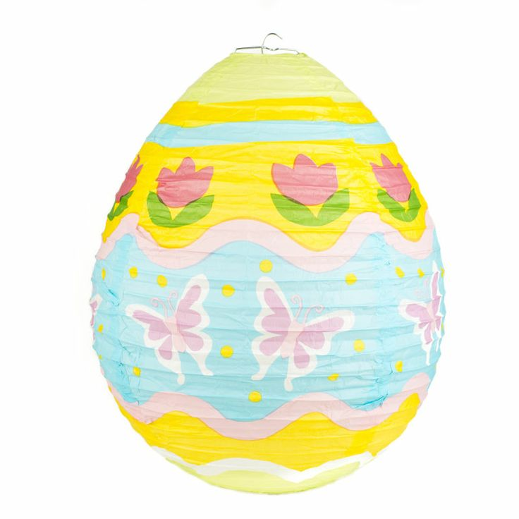 Get crafty this spring with this Hobbycraft Egg Shape Paper Lantern. This beautiful paper lantern features a flower and butterfly design in lovely pastel colours. Hobbycraft Egg Shape Paper Lantern 42 Cm X 13 Cm #easterdecoration #easteregg #easterlantern