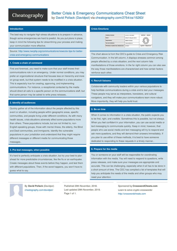 Better Crisis & Emergency Communications Cheat Sheet by