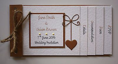 Vintage Shabby Chic RUSTIC ROMANCE cheque book Wedding Invitations : 60 colours