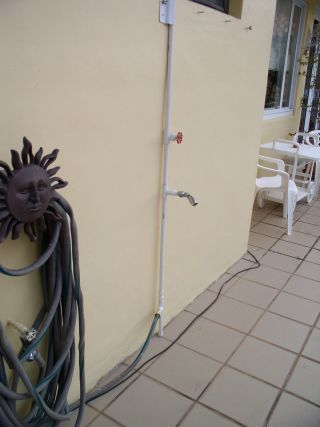 Outdoor shower for pool. PVC PIPE PROJECTS