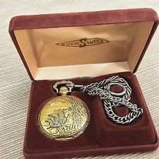 Ever Swiss Quartz Pocket Watch w/ Date & Chain Hunting Dog Ducks Geese Vintage