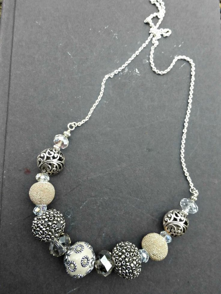 Grey, Crystal, ceramic and metal chunky beaded and silver necklace.