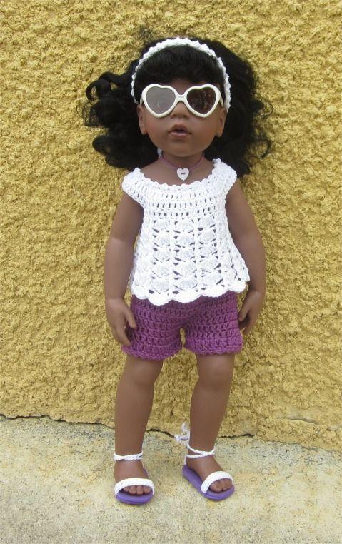 87- FICHE PATRON CROCHET Tenue Clémentine pour poupée Hannah de GOTZ : Jeux, jouets par atelier-crochet