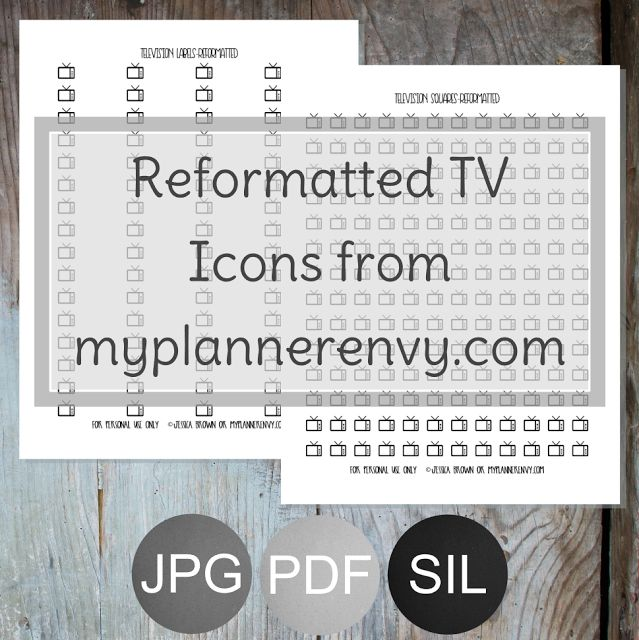 Reformatted TV Icons form myplannerenvy.com