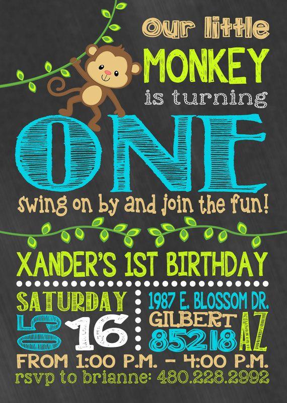 Monkey Birthday Invitation Printable Monkey Boy by CLaceyDesign