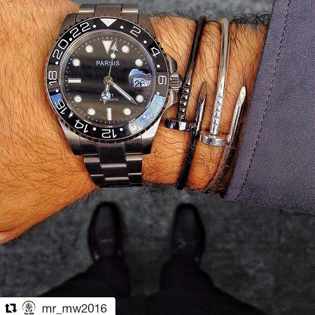 #Repost @mr_mw2016 with @repostapp・・・PARNIS GMT automatic#nail #nailbracelet #levis501 #levis #parnis #parniswatch #gmt #gmtmaster2 #loafers…