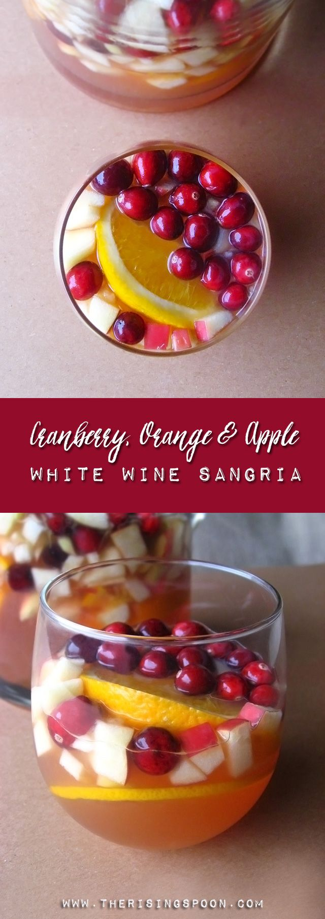 A beautiful sangria recipe that's perfect for the holidays! Plus, it goes down really easy (yum) and has healthy ingredients like unsweetened 100% cranberry juice.