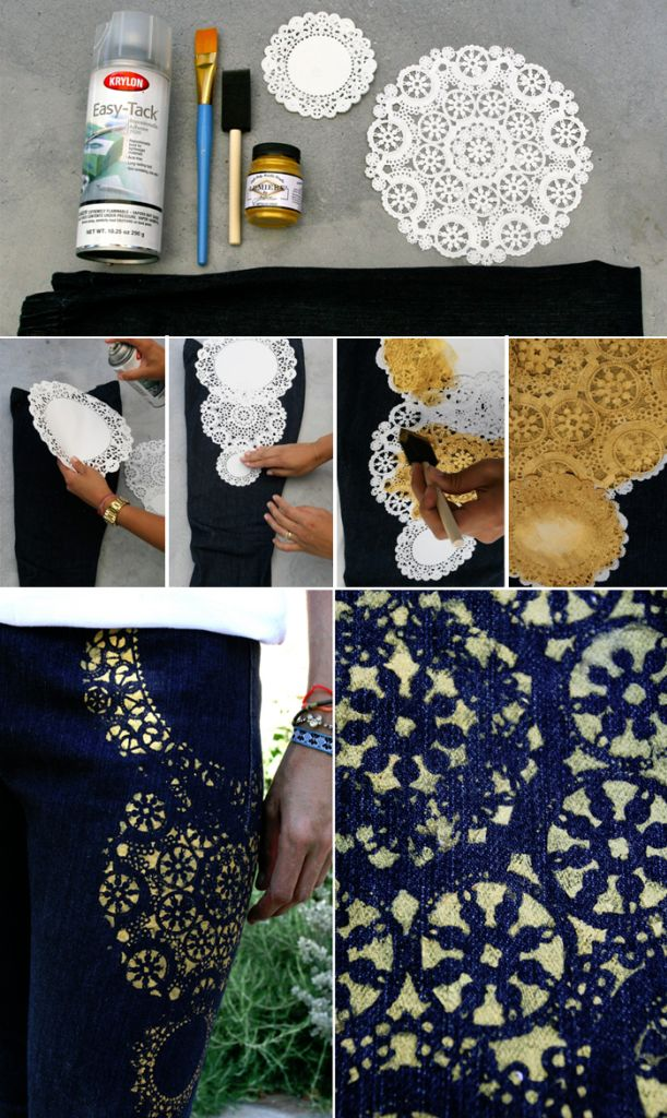 Gold painted jeans fashion lace elegant paint jeans style diy crafts