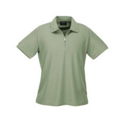 Ladies Micro Waffle Polo Min 25 - A zippered placket cooldry poly polo with a self fabric collar and sleeve. #PoloShirts  #PromotionalProducts  #PromotionalPoloShirt  #CooldryPoloShirts #LadiesPoloShirt