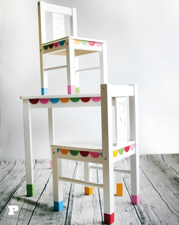 Have your kids help you add some character to their Kritter furniture with vinyl adhesive sheets. | 27 Incredibly Fun And Creative Ways To Transform Ikea Products