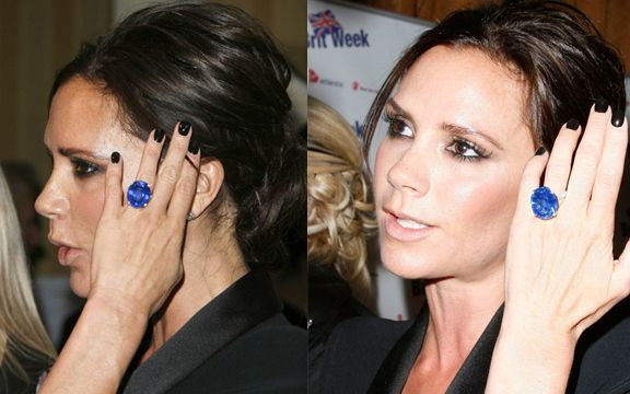 Victoria Beckham's engagement rings: blue sapphire  ring